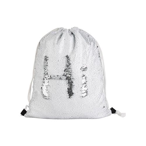 Szublimálható 36 x 45 cm hátizsák flitterrel - fehér