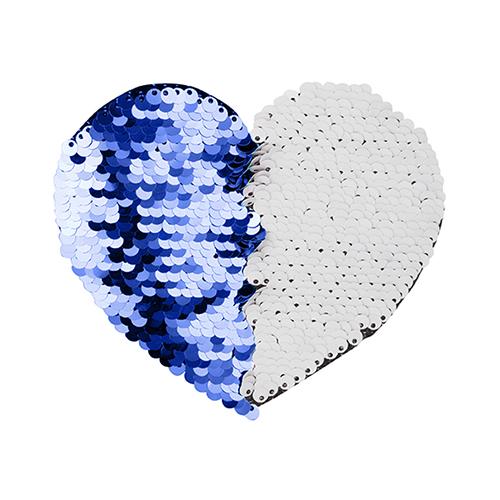Szublimálható pólóra vasalható flitteres szív - kék