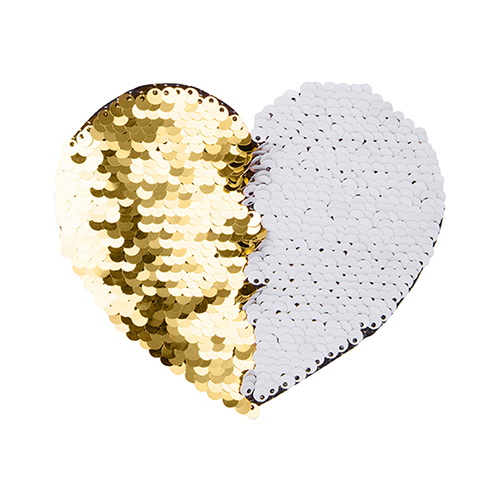 Szublimálható pólóra vasalható flitteres szív - arany