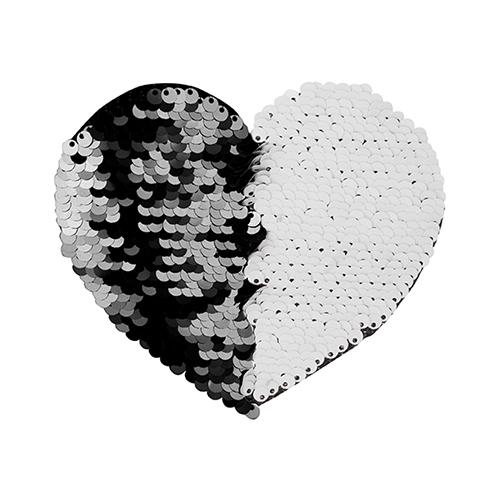 Szublimálható pólóra vasalható flitteres szív - fekete