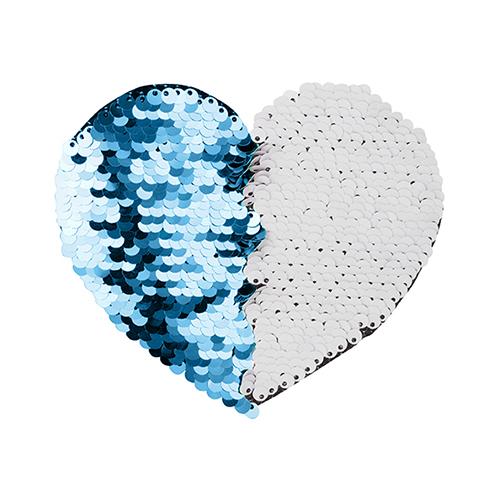 Szublimálható pólóra vasalható flitteres szív - világoskék