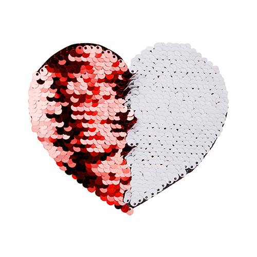 Szublimálható pólóra vasalható flitteres szív - piros