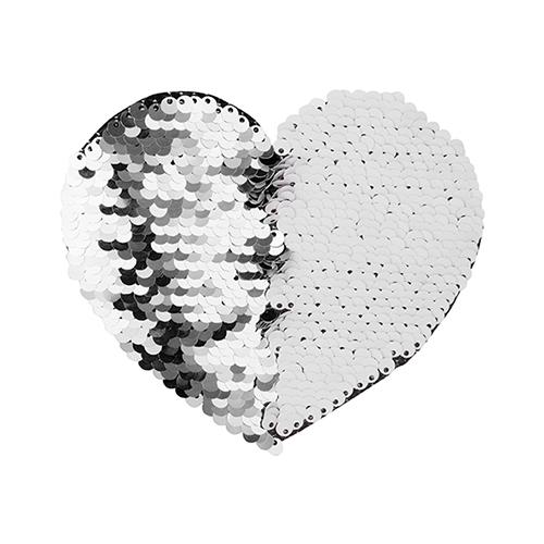 Szublimálható pólóra vasalható flitteres szív - ezüst