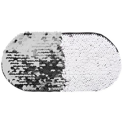 Szublimálható pólóra vasalható flitteres ovális - ezüst