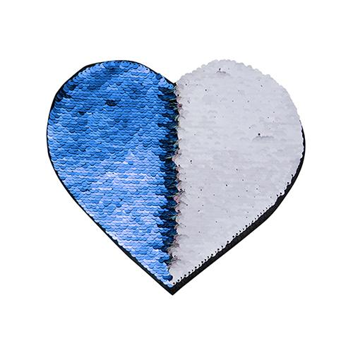 Szublimálható pólóra vasalható flitteres szív - kék 22 x 19,5 cm