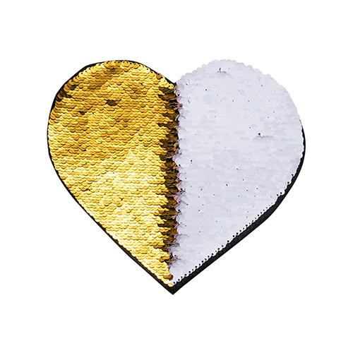 Szublimálható pólóra vasalható flitteres szív - arany 22 x 19,5 cm