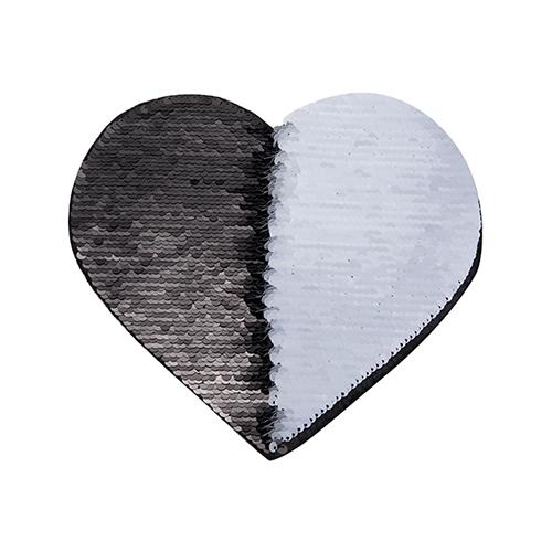Szublimálható pólóra vasalható flitteres szív - fekete 22 x 19,5 cm