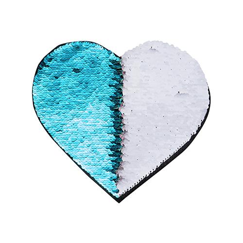 Szublimálható pólóra vasalható flitteres szív - világoskék 22 x 19,5 cm