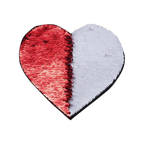 Szublimálható pólóra vasalható flitteres szív - piros 22 x 19,5 cm