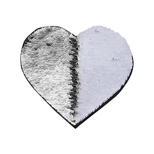 Szublimálható pólóra vasalható flitteres szív - ezüst 22 x 19,5 cm