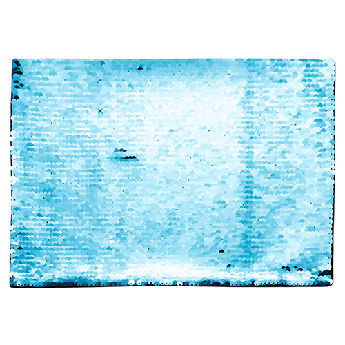 Szublimálható pólóra vasalható flitteres négyszög - világoskék